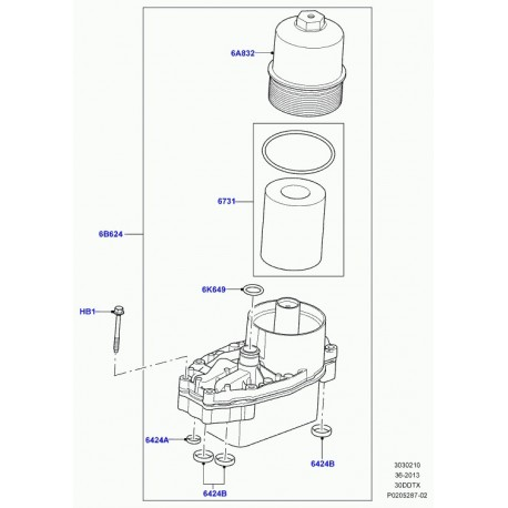 Land rover filtre à huile Discovery 4, 5, Range L322, L405, Sport, Velar L560 (LR013148)