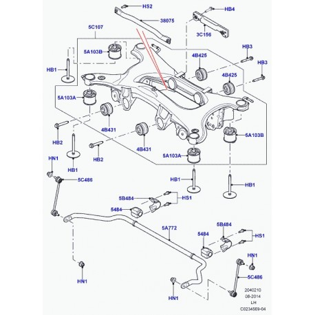 Land rover bague barre stabilisatrice Freelander 2 et Evoque (LR034392)