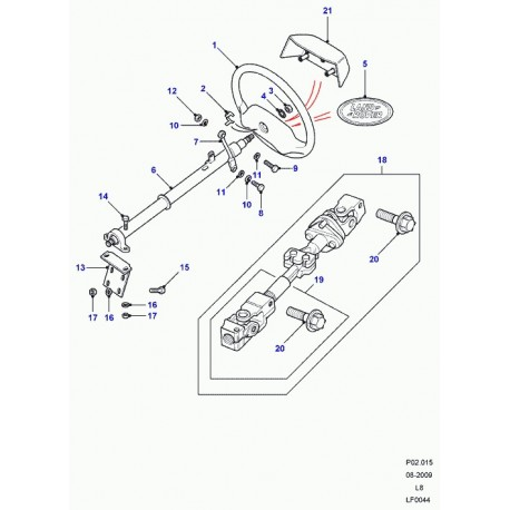 Land rover arbre de direction (QMN500270)